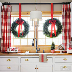 Kitchen Sink Wreaths (Heath & the B.L.T. boys) Tags: christmas wreath kitchen sink gingham curtains red ribbon pendantlamp gingerbreadhouse