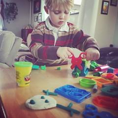 357/366 (grilljam) Tags: iphone 366days playdoh creating indoorsensory reindeer scissors cuttingsoftthingsisfun itssnowingoutside seamus 4yrs winter december2016