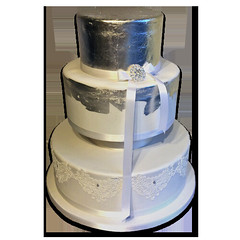 Silver Leaf Lace Wedding Cake