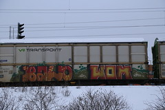 Benching... (Thomas_Chrome) Tags: graffiti streetart street art spray can freight train vr cargo transpoint freights moving target object illegal vandalism suomi finland