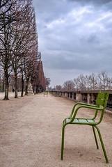 grüner Stuhl (mniesemann) Tags: ifttt 500px paris stuhl chair tuileries grün baum tree himmel wolken clouds winter kalt leer geometrie fluchtpunkt leica m fine art