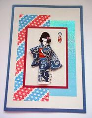 All-purpose handmade card 88 (tengds) Tags: blue red white asian japanese indigo card kimono obi papercraft japanesepaper washi ningyo diagonals handmadecard chiyogami asiandoll yuzenwashi japanesepaperdoll japanesemotif washidoll origamidoll kimonodoll asianmotif tengds indigowashi allpurposecard