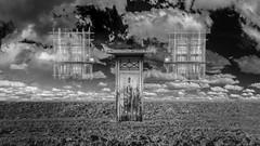 Nowhere [25:52 - Dreamy] (ponzoñosa) Tags: door bw black window clouds heaven nowhere surreal bn dreamy stalk arid castillalamancha 52weeks