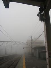 (Yorozuna / ) Tags: mist station japan fog platform jr shizuoka  gotenba        jr   gotenbastation