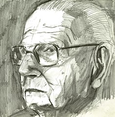 Winton (Jim_V) Tags: portrait pencil sketching lunchtime nicholas winton kindertransport