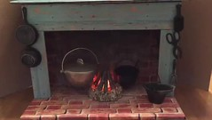 7. American Girl Colonial Fireplace Glow Video (Foxy Belle) Tags: cooking kitchen girl project fire fireplace doll colonial craft pot campfire cardboard american ag cauldron kaya diorama felicity