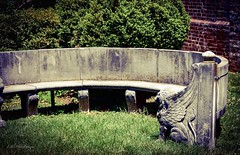 Winged Lions, HBM (Little Hand Images) Tags: bench sunny seating wingedlion fredericksburgvirginia curvedbench concretebench civilwarsite grassyarea littlehandimages chathamestate