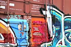 Close Up of Train Graffiti (Bella Lisa) Tags: railroad train georgia graffiti tracks traingraffiti buford