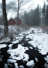 red house by the river (dovlindphoto) Tags: cabin snow snowfall snowing frost winter forest nature woods redhouse redcabin sweden dalsland dovlind dovlindphoto pentax k3 ice river