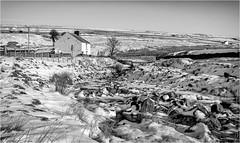 Harwood . (wayman2011) Tags: fujifilmxt10 lightroom wayman2011 bwlandscapes mono winter snow houses cottages streams pennines dales teesdale harwood countydurham uk