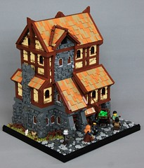Sigurd's General Goods (soccersnyderi) Tags: lego moc creation original skyrim medieval castle general store goods interior stone wood wall technique design tudor roof street cobblestone window bitsandpieces model