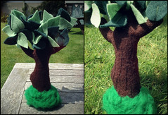 Weighted Base Tree (Midnight Hoots) Tags: felt handmade hand sewn items crafts craft cute soft gifts tree nature leaves leaf trunk brown felted weighted base stone stuffed plush