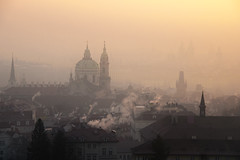 Burning through the haze (10000 wishes) Tags: prague travelphotography landscape cold chimmneys smoke landmarks historic hazey earlymorning