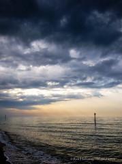 Morning, brightly (rhfo2o - rick hathaway photography) Tags: morning sea reflection beach clouds sunrise dark seaside waves mood westsussex iphone rustington groynemarker iphone4s rhfo2o