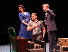 (L to R) Janine Divita as Rosie Alvarez, Nathaniel Hackmann as Conrad Birdie and Larry Raben as Albert Peterson in Bye Bye Birdie, produced by Music Circus at the Wells Fargo Pavilion July 7-12, 2015. Photo by Charr Crail.