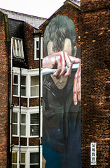 hanging despair (PDKImages) Tags: art street manchesterstreetgallery manchesterstreetart streetart contrasts couple love artinthecity ripartist faces abandoned girl bee bees manchester walls posterart stencilart heart hidden dmstff cityscape cityscene