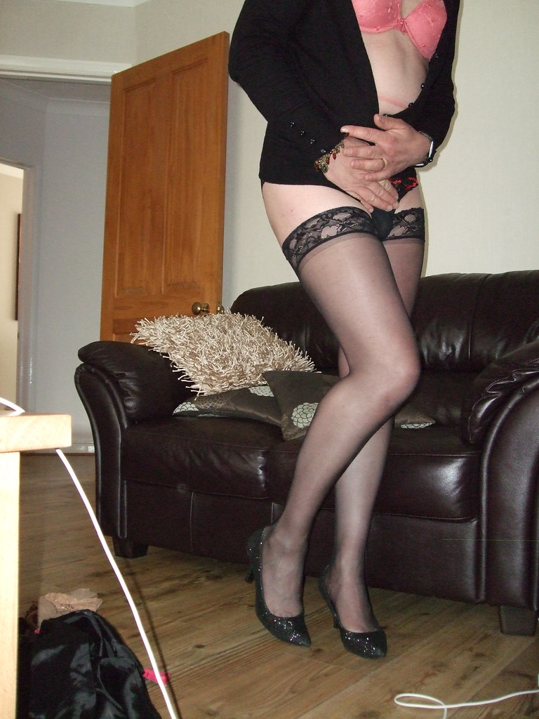 Transvestite in nylons