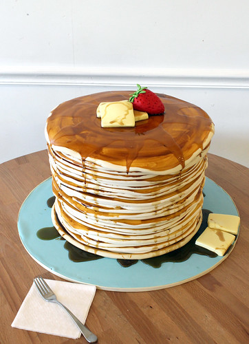 Stack of Pancakes Cake with real maple syrup!