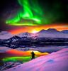 dream snowboarding (Kuutti Heikkilä) Tags: photoshop blend multiple images snowboarding aurora borealis northern lights wow