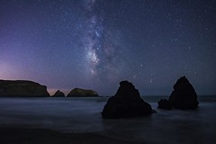 Milky Way at Rodeo Beach (Karen Kaner Photography) Tags: milkyway stars starrynight beach landscape nature rodeobeach surf coastline coast ocean rocks monolith longexposure kanerphotography universe galaxy fortcronkhite ggnra nikon marincounty northerncalifronia california nightphotography pacific pacificocean sky nightsky