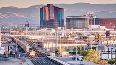Train Rolls in Downtown (Jay Abramson) Tags: unionpacific tracks traintracks riolasvegas canon5dmarkii