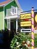 Gelato Espresso, Suttons Bay, MI, 2016 (Tom Powell) Tags: suttonsbay leelanau michigan 2016 nikond40 green pink yellow lines patterns