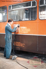 Preparing for deregulation (Museum of Transport Greater Manchester archive) Tags: museum transport cheetham manchester wwwgmtscouk gmts bus buses museumoftransport gmtscollection greatermanchestertransportsociety boylestreet cheethamhill m88uw deregulation painter sander sanding repair paint workshop garage gmt standard ncme northerncounties