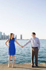 (ccwphoto) Tags: city wedding summer lake chicago love water skyline canon buildings engagement holding hand michigan smiles explore l approved