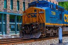 CSX in Thurmond, WV (rvtn) Tags: railroad blue usa yellow train westvirginia ghosttown locomotive csx thurmond 24ccfbt