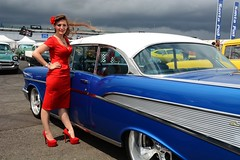 Holly with '57 (Fast an' Bulbous) Tags: show santa red summer england woman hot sexy classic chevrolet girl car hair high pod nikon automobile shoes long dress outdoor july gimp babe chick chevy american heels vehicle oldtimer tri nylon 57 stilettos nylons santapod showshine d7100 dragstalgia