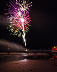fireworks (Mark Chandler Photography) Tags: ocean sea lighthouse color colour beach water canon colorful waves florida fireworks stock atlantic 7d boardwalk fl daytona ponceinlet markchandler