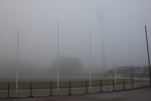 Foggy dawn at footy