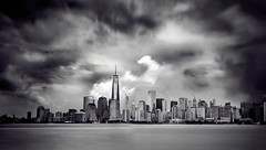 Before the Rain (Marchelo13) Tags: blackandwhite white newyork storm tower rain clouds freedom newyorkskyline manhattanskyline blackand freedomtower newyorksunset