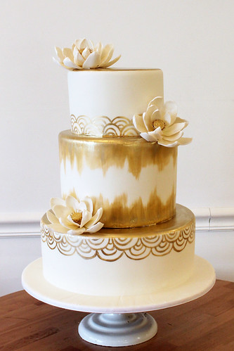 Brushed Metallic Gold and Lotus Flowers Wedding Cake