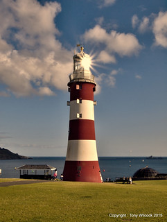 The old Eddystone lighthouse at Plymouth Hoe.
