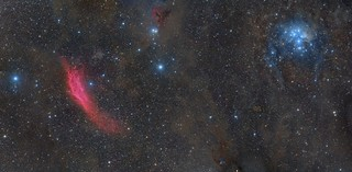 Perseus: California Nebula to M45 - 6 Panel Mosaic with 5 hybrid areas.