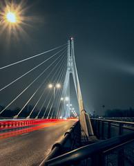 Bridge Śląsko-Dąbrowski (MaciejJanowskiphoto) Tags: architecture bridge city night poland warsaw long exposure llongexposure longexpo urban light trails river water blue hour dark citylight