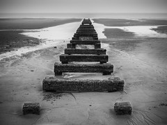 blackpool beach (sanraalpl) Tags: olympusomdem5mkii blackpool beach bw 1240 long exposure omd travel landscape
