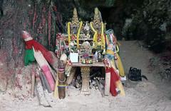 Princess Cave shrine (SteveInLeighton's Photos) Tags: kodachrome transparency thailand 1999 january aonang krabi shrine railay cave phallus