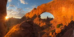 Golden Arch (Jake Rogers Photo) Tags: panorama pano sunrise fall orange starburst sunburst arches archesnationalpark nationalpark utah moab canon turretarch turret arch