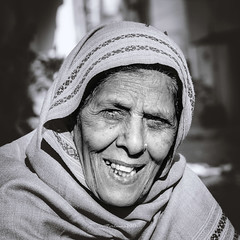 Kindness (Fortunes2011.) Tags: people portrait woman face elderly smile teeth shawl square bw blackandwhite blackwhite portraiture
