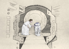 To Fallen Heroes.. (Kit Bricksto) Tags: carrie fisher kenny baker tribute 2016 fallen heroes drawing photoshop enhanced tantive iv new hope