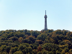 Petřín Tower and woods, 2016 Aug 27 (Dunnock_D) Tags: czechia czechrepublic prague blue sky petřín tower trees woods woodland forest hill petřínskározhledna malástrana lessertown