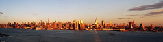 New York Skyline (Sid's Corner) Tags: nyc newyorkcity panorama usa newyork skyline evening harbor cityscape waterfront skyscrapers hudsonriver empirestate hudson chrysler edgewater goldenhour