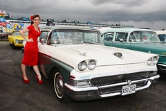 Holly & classic Ford Fairlane (Fast an' Bulbous) Tags: santa red summer england woman hot sexy classic girl car pits high pod nikon automobile dress outdoor july gimp american heels vehicle 50s nylon stilettos nylons showshine d7100 dragstalgia