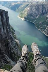 On the top of Kjerag Mount (Karol Majewski) Tags: cliff water landscape stavanger norge legs valley edge fjord scandinavia buty dolina woda rogaland lysefjord kjerag lysefjorden klif ryfylke nogi lysebotn krajobraz norwegia skandynawia forsand