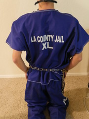 P1030012 (boblaly) Tags: inmate prison prisoner padlock jumpsuit jail waist restraints detention restrained secure arrested arrest handcuffs handcuffed chain cuffed cuffs chained chains convict locked shackled shackles