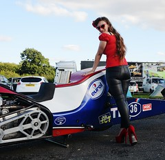Holly_9860 (Fast an' Bulbous) Tags: top fuel bike motorcycle eurol drag race santa pod outdoor people pinup model girl woman hot sexy hotty biker chick babe long brunette hair red shoes stilettos leather pvc trousers jeans leggings england summer eurofinals nitro pose