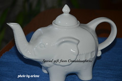 Gift from Granddaughters! (Arlene Castro) Tags: christmasgift athina starr whiteelephant athinaandstarr teapot