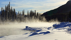A frosty morning. (fred.colbourne) Tags: banffnationalpark alberta canada river mist mountains snow trees